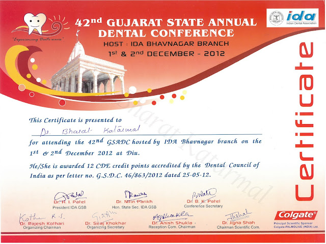 42nd Gujarat State Annual Dental Conference  2012, Bhavnagar