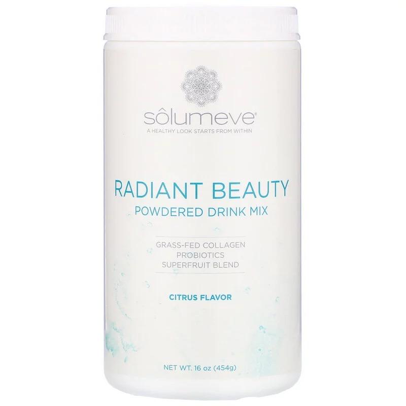 Solumeve, Radiant Beauty, порошковая смесь для напитков с экологически чистым коллагеном, пробиотиками и суперфруктами, цитрусовые, 454 г (16 унций)