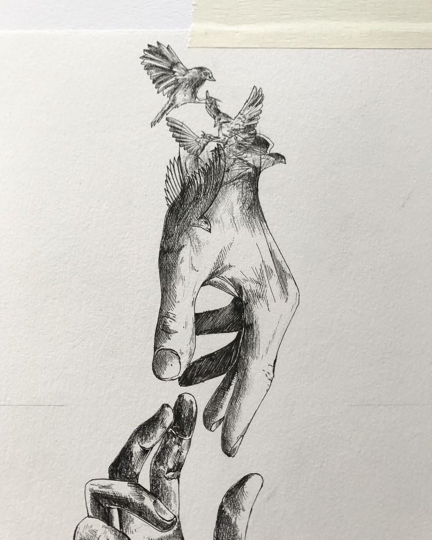 13-Catch-the-beauty-of-the-moment-Alfred-Basha-Diverse-Black-and-White-Surreal-Drawings-www-designstack-co