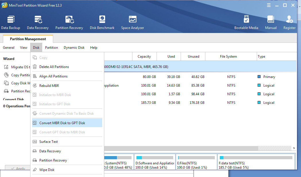 How to Convert an MBR Disk to GPT Disk