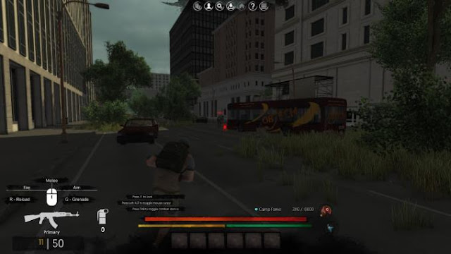 The Withering  is a third-person survival, open-world zombie game. You have to find enough supplies and weapons to survive.