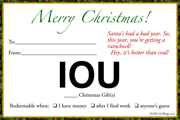 Economic disconnect patience and the i o u christmas for Iou letter template
