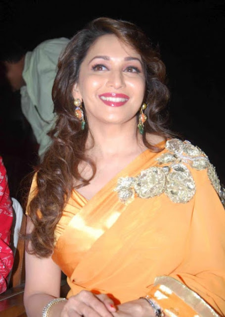 Bollywood Actress Madhuri Dixit Pictures In Yellow Saree Navel Queens