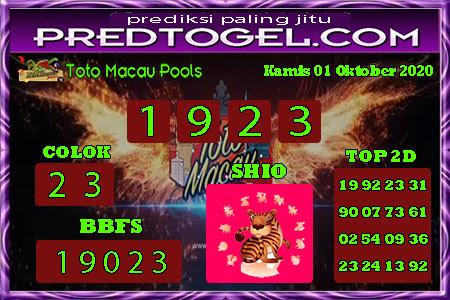Pred Macau Kamis 01 Oktober 2020