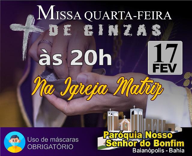 Igreja matriz de Baianópolis celebra missa da quarta-feira de cinzas