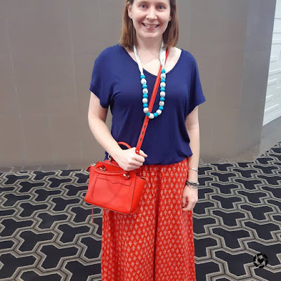 Awayfromblue Instagram | navy and red printed maxi skirt casual mum style outfit spring