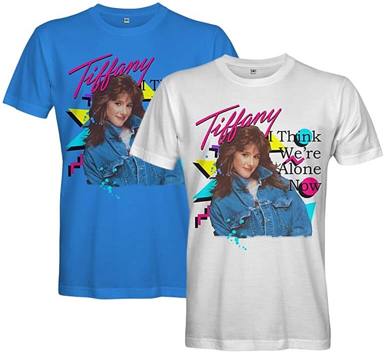 Blue and White T-shirts featuring Tiffany I Think We're Alone Now and 80s geometric shapes