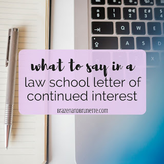 Your letter of continued interest should begin with a thank you, express your interest, and give an update on your accomplishments. Law school waitlist help. What to do if you've been waitlisted for a law school. What is a LOCI? What to put in a letter of continued interest. What goes in a letter of continued interest. How to write a letter of continued interest. Do I need a letter of continued interest? Law school admissions advice. Law school admissions help. Law school blog. law student blogger | brazenandbrunette.com