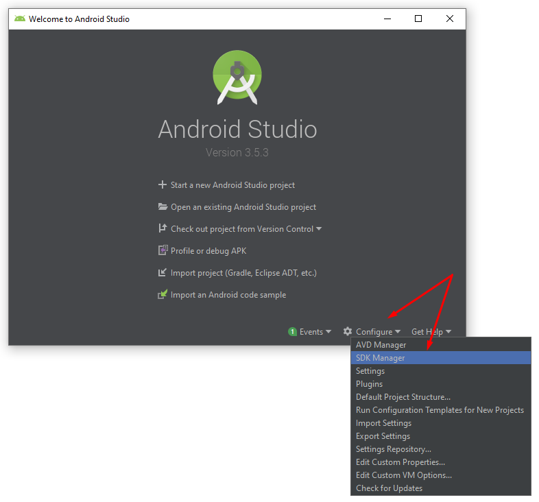 Welcome to Android Studio > Configure > SDK Manager