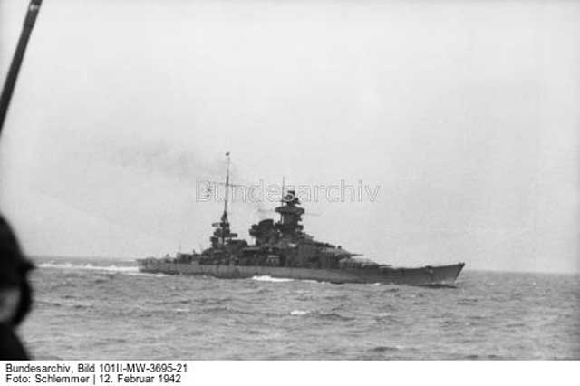 Heavy cruiser Scharnhorst during the Channel Dash, February 1942 worldwartwo.filminspector.com