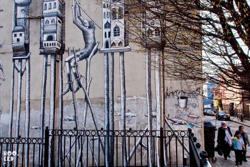 London Street Art Mural by artist Phlegm