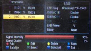 Penampakan sinya Sinyal Frekuenis 11921 V 45000 Satelit Ses 9
