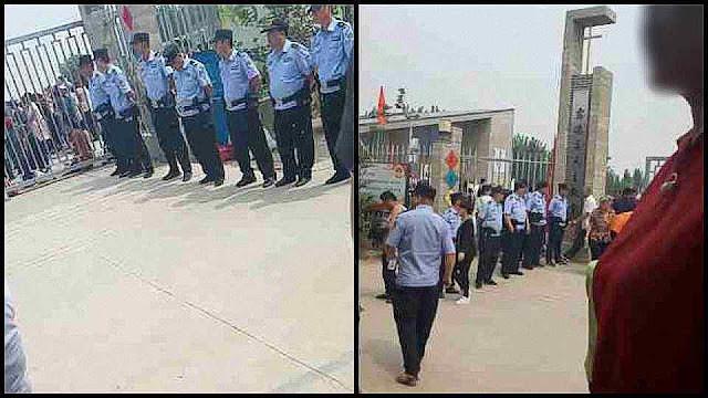 Policiais vigiam intimidatoriamente o ingresso dos fiéis ao santuário de Nossa Senhora Ludezhuang