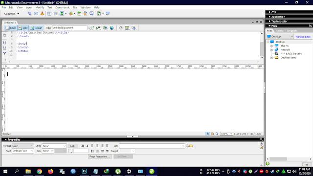 Tampilan aplikasi Macromedia Dreamweaver 8