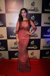 Actress Sophie Choudry in Transparent Red Dress (10).JPG