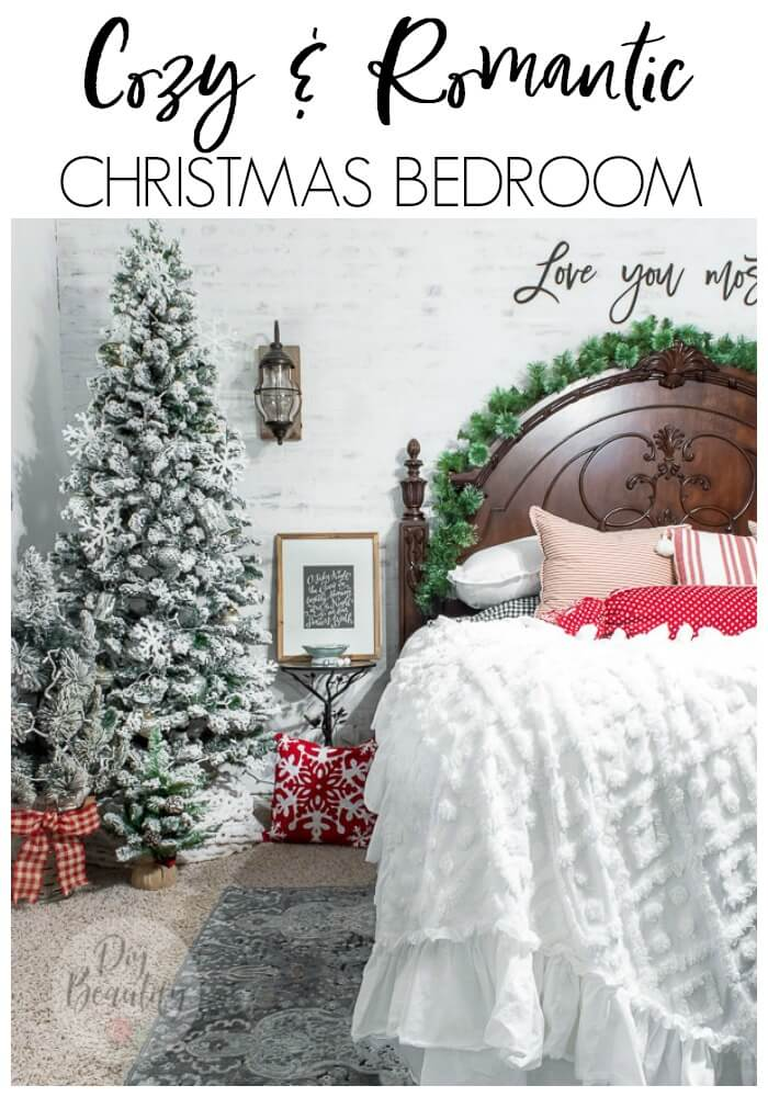 Christmas bedroom with flocked trees, red and white pillows and cozy bedding