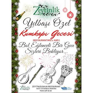 Zeytinlik Balık Restaurant İstanbul Yılbaşı Programı 2020 Menüsü