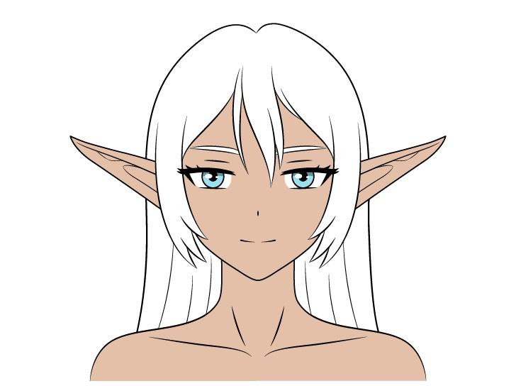 Mewarnai gadis dark elf anime