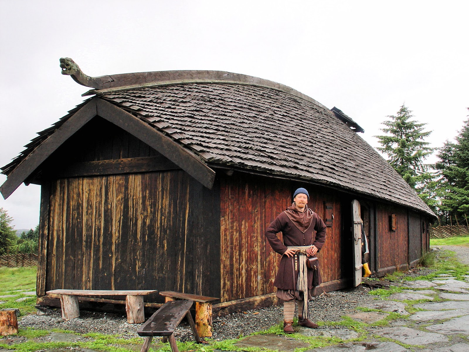 Our Harald once again but this time standing in front of a Viking longhouse replica.