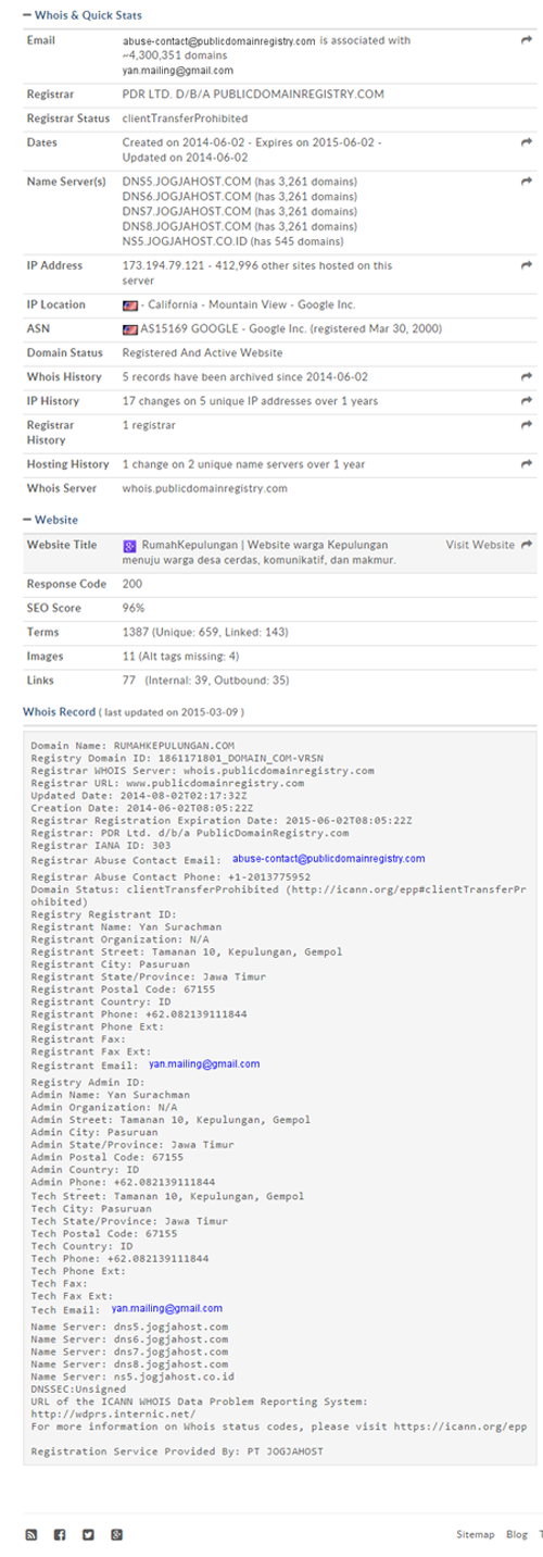 Hasil Whois Lookup Domain