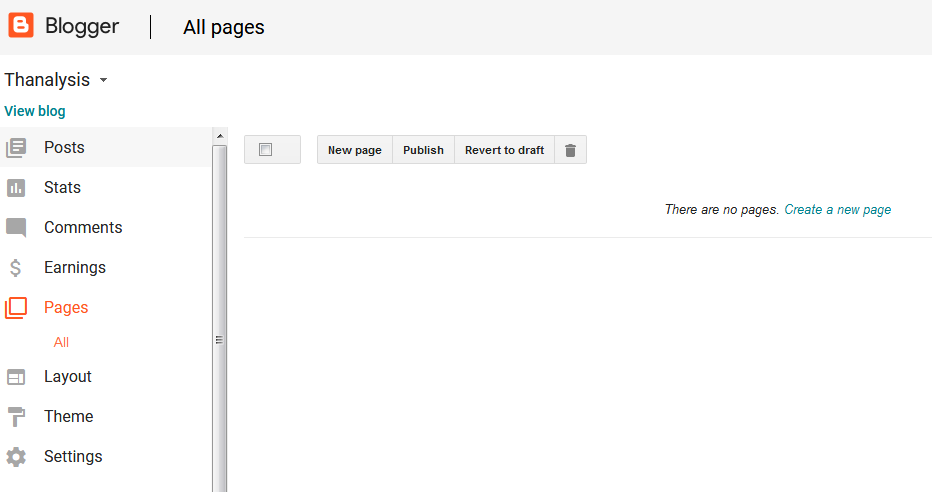 Pages tab of Google Blogger - Thanalysis
