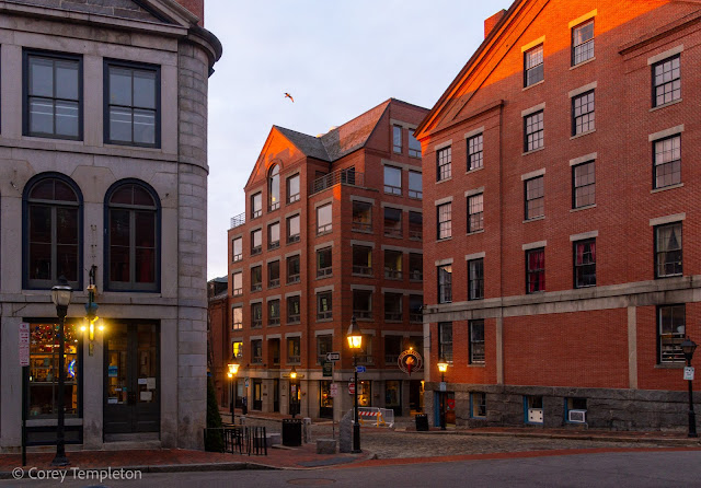 Portland, Maine USA April 2021 photo by Corey Templeton. A handsome collection of buildings from Fore & Moulton Streets in the Old Port.