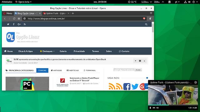 Opera Beta executando no openSUSE Tumbleweed com ambiente de desktop GNOME