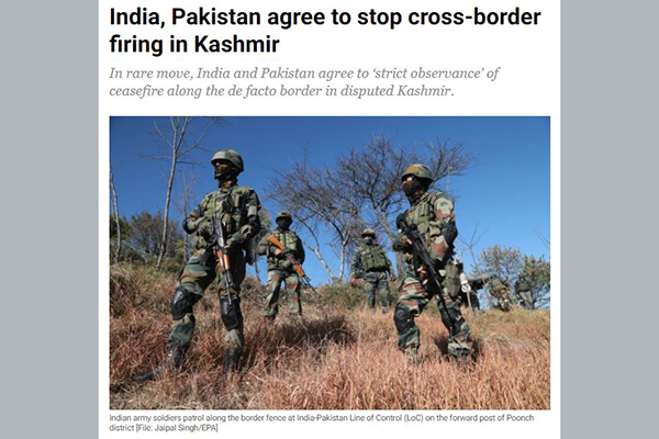 India and Pakistan agree to stop firing on the border