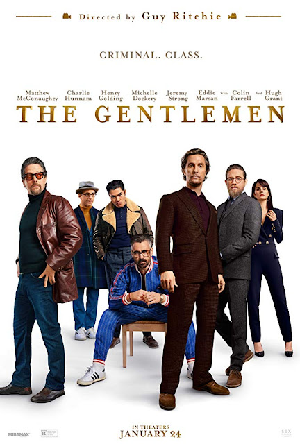 "Movie poster for ""The Gentlemen,"" starring Charlie Hunnam, Matthew McConaughey, Colin Farrell, Henry Golding, Michelle Dockery, and Hugh Grant"