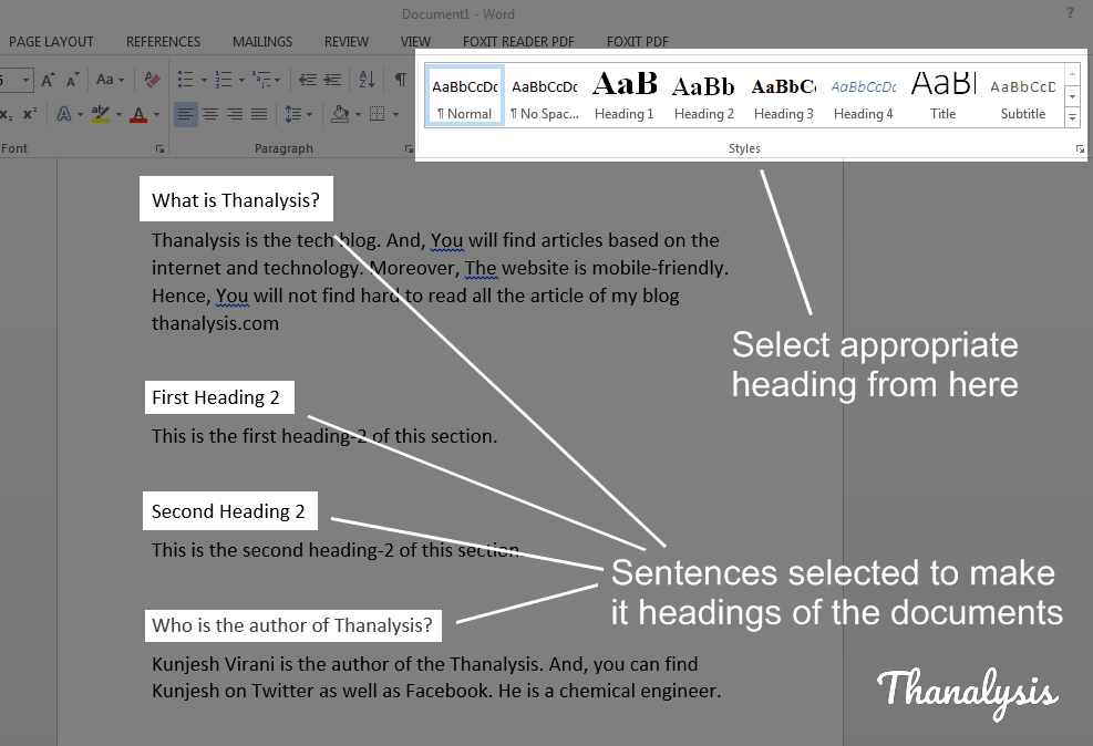 Select sentences from document and apply appropriate headings to it from Styles section to create table of content in MS word