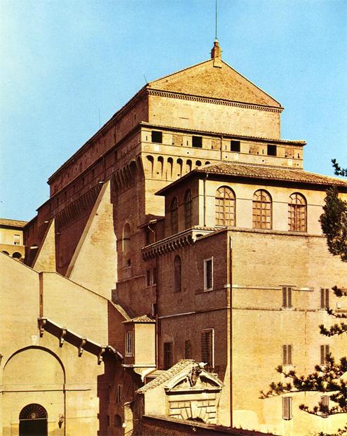 Capilla Sixtina de Miguel Ángel (Vista exterior de la fachada)