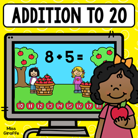 Addition to 20 digital math game in a cute apple theme!