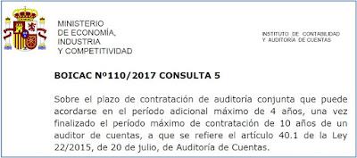 BOICAC 110 Consulta 5 Auditoría   Sobre el plazo de contratación de auditoría conjunta que puede acordarse en el período adicional máximo de 4 años, una vez finalizado el período máximo de contratación de 10 años de un auditor de cuentas, a que se refiere el artículo 40.1 de la Ley 22/2015, de 20 de julio, de Auditoría de Cuentas.