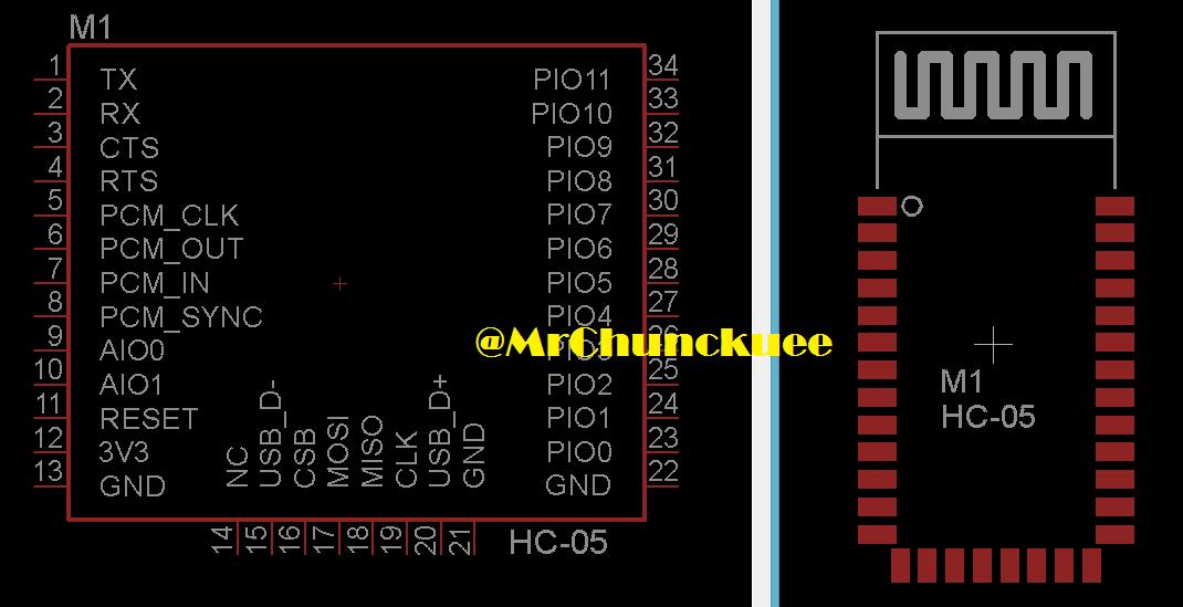 Librerías para Eagle: Bluetooth HC-05
