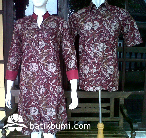 Sarimbit Dress Batik Bunga Merah SD 058