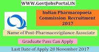 Indian Pharmacopoeia Commission Recruitment 2017– Pharmacovigilance Associate