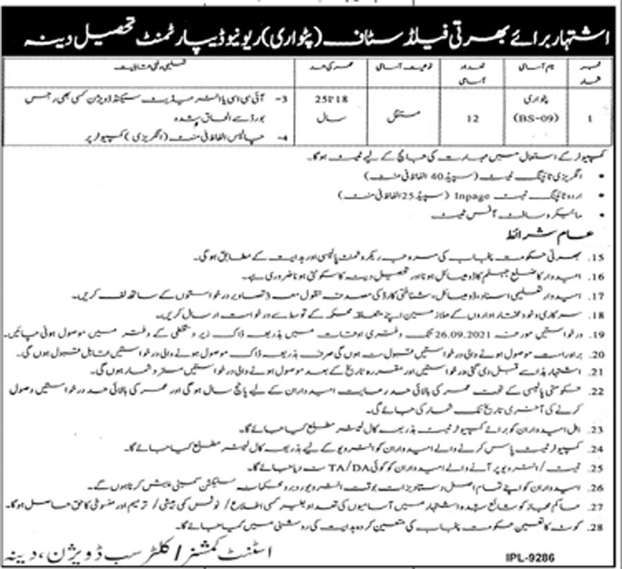Revenue Department Punjab Jobs 2021 in All Advertisements