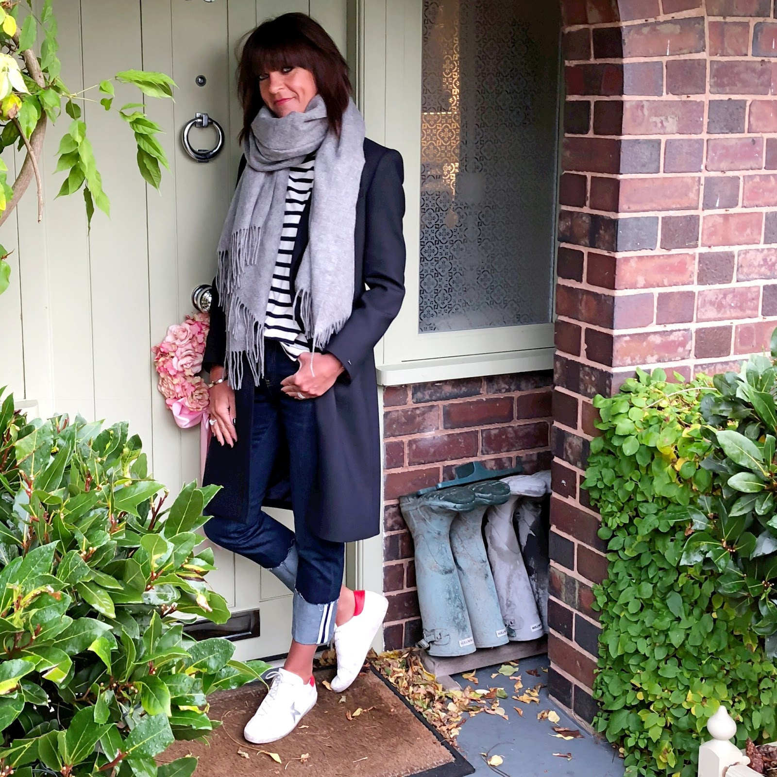my midlife fashion, tommy hilfger celeste classic coat, asos oversized wool scarf, j crew breton, golden goose superstar low top leather trainers, hush turn up boyfriend jeans
