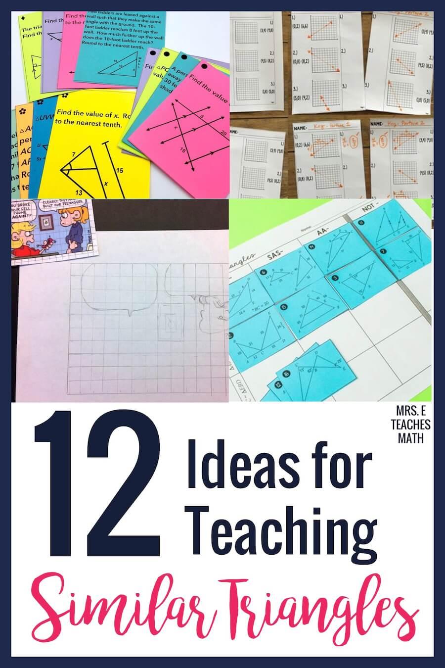 12 Ideas for Teaching Similar Triangles   Mrs. E Teaches Math [ 1350 x 900 Pixel ]
