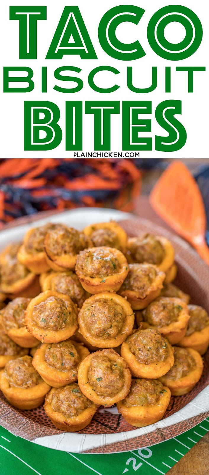 Taco Biscuit Bites Recipe - taco seasoned sausage, green chiles and cheese baked in mini biscuit cups! SERIOUSLY delicious! Great for parties and tailgates!!! Can make ahead for easy entertaining. Only 5 ingredients and ready to eat in 15 minutes! Dip in salsa and/or ranch. These things FLY off the plate!