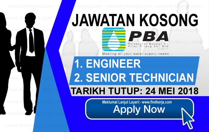 Jawatan Kerja Kosong PBA - Perbadanan Bekalan Air Pulau Pinang logo www.findkerja.com mei 2018