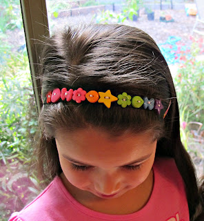novelty rainbow button headband