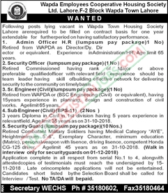 Latest Vacancies Announced in WAPDA Employees Cooperative Housing Society Limited Lahore 8 November 2018 - Naya Pakistan