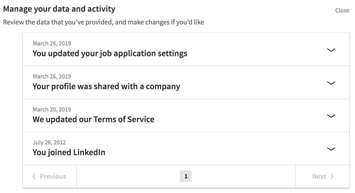 لقطة شاشة لإعداد خصوصية LinkedIn