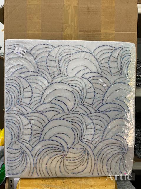 Hotfix stickers dmc rhinestone aplikasi tudung bawal fabrik pakaian corak moden dedaun besar biru hitam