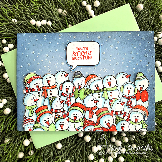 You're snow much fun by Bobbi features Petite Snow, Frozen Fellowship, Speech Bubbles, and Moose Mountain by Newton's Nook Designs; #newtonsnook