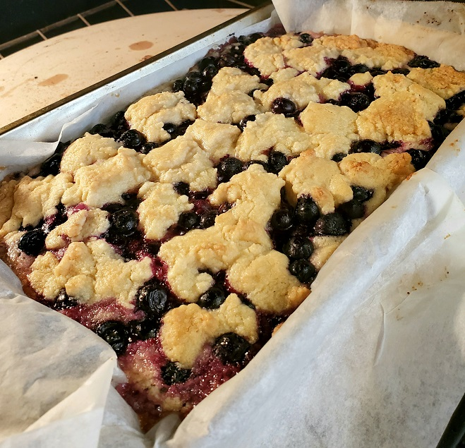 these are blueberry bars baked and cooling