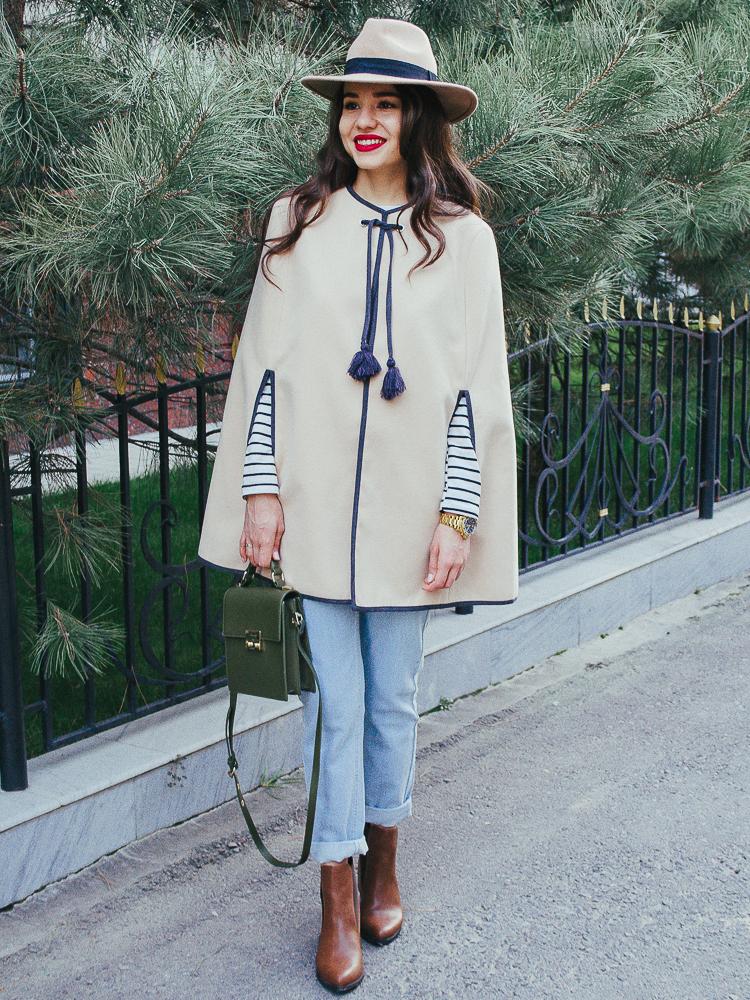 fashion blogger diyorasnotes cape asos blue denim zara bag hat stripe top shein