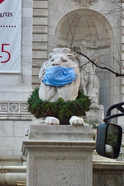 New York City Landmarks, New York Public Library lions, Patience and Fortitude, Covid, pandemic in New York City