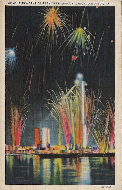 Fire works at the Chicago World's Fair in 1933. Postcard published by Max Rigot Selling Co., Chicago